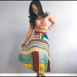 Multi Colored Geometric Midi Pleated Skirt